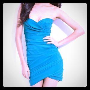 BCBGMAXAZRIA Blue Strapless Dress
